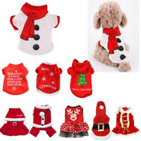 Cute Dog Puppy Christmas Santa Warm Costumes Coat Clothes Pet Apparel Shirt