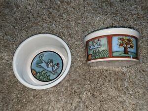 """2 Large Cat Bowls Flight of The Blue Cat Ursula Dodge Cat Bowl Wings Flying 6 """""""