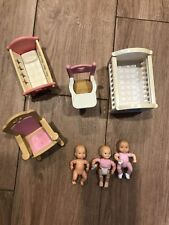 Lot of Three Fisher Price Baby's doll Two Chairs and Two Cribs