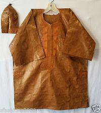 Men Clothing Brocade Print Dashiki TopW/Cap African Ethnic Shirt Plus Size Glod