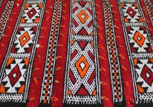 Vintage Tribal Moroccan Wool Handira Kilim Pillow Cushion Cover Hand Woven Red