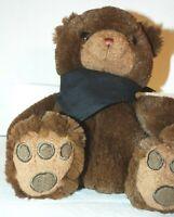 "It's All Greek To Me Brown Teddy Bear 10"" Sitting Down Wearing Black Scarf SOFT"
