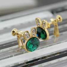 Girls 18K Gold Plated Simulated Emerald Cute Rabbit Bunny Clip On Earrings Gift