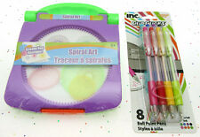 Spiral Art ~ Create Fun Designs ~ 8 Multi Color Ink Pens ~ Drawing Craft