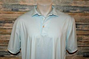 PETER MILLAR SUMMER COMFORT Large Men's S/S Poly Spandex Golf Shirt Mint Green