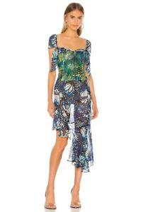 Kim Shui Butterfly Chiffon Skirt Butterfly Silk Blue Italy S NWT $245