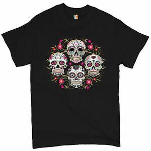Day of the Dead Floral Sugar Skulls T-shirt Dia de los Muertos Men's Tee