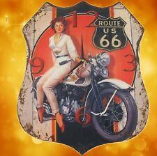 Wand Uhr Wappen Route US 66 Eisen H.47x39cm antik vintage Geschenk Ästhetik