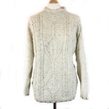 Rare Orchid Exclusives Knit SWEATER Jumper Cream With Brown Trim Large