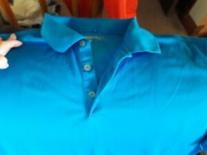 NIKE Golf Polo Shirt; Blue- DRI-FIT UV, Performance, Stretch Sz-XXL - EUC