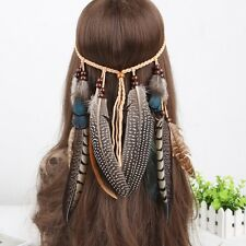 Fashion Indian Bohemian Feather Beads Headband Hair Robe Fancy Dress Headpiece