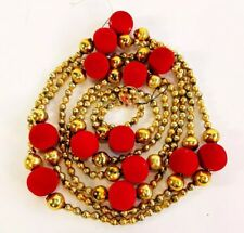 Vtg Holiday Red Gold Mercury Glass Beads Flocked Strung Christmas Garland Japan