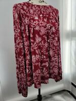 Knox Rose Womens Red Crew Neck Floral Long Sleeve Regular Top Size XL