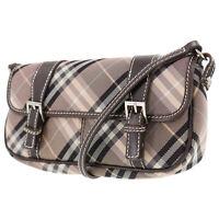 Burberry Blue Label Check Shoulder Bag Pink Brown Nylon Canvas Japan #AC79 Y