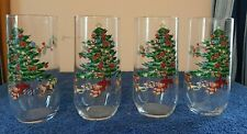 Luminarc VINTAGE Christmas Tree with toys Drinking Glasses , Holiday  Set of 4