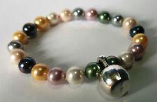 fitcros Pulsera Mancuerna Plata Gym Life Fitness Bracelet Perlas de Colores Sra