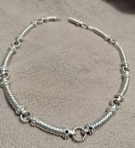 "Judith Ripka 925 Sterling Silver Necklace Circle Link Sapphire JR 16.5"" Vintage"