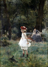 Perfect Oil painting little girl with duck in garden landscape free shipping