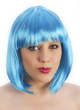 Womens Short Bob Wig Orange Blue Blonde Green Purple Pale Pink Hair fancy Dress