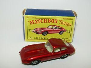 Lesney Matchbox No 32 Jaguar E Type Light Metallic Red  Fine BPW VNMIB D Box