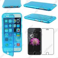 "Housse Etui Coque Portefeuille Silicone Gel TPU Bleu Apple iPhone 6 4,7"" + Verre"