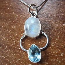 Rainbow Moonstone Faceted Blue Topaz 925 Sterling Silver Pendant Teardrop t115c