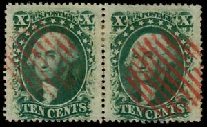 US #35 1859 10c Wash. Pair Used Red Cancel CV $118 KP-059