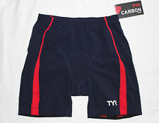 """New TYR TEAM USA CARBON MEN'S 9"""" Tri Exercise Shorts w/ AMP Pad - Navy Red - XS"""