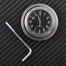 """7/8"""" Motorcycle Chrome Waterproof Black Dial Handlebar Clock Glow TIme Watch"""