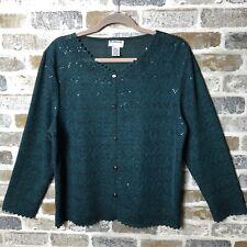 BonWorth Cardigan Sweater Lightweight Emerald Green Floral Glitter Medium Petite