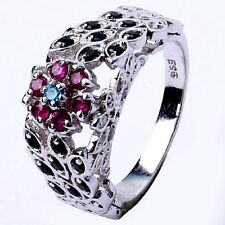 Sterling Silver Engagement Ring Size 7 0.85 Ct Raw White Natural Diamond 925