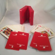 Vintage United Airlines Double Deck Playing Cards 1969 in Plastic Folding Case
