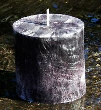 80hr MAHOGANY, LEATHER & COFFEE Scented Stylish Oval CANDLE Pewter Grey Colours