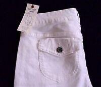 Simply Vera Wang Petite 10 10P White Denim Roll Cuff Capris Jeans