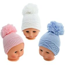 Adorable Knitted Large Pom Pom Baby Girl Boy Hat 0-12 months by Soft Touch
