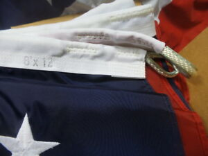 Valley Forge HUGE 8 ft by 12 ft US Flag. Nylon, Sewn Stars Last One!