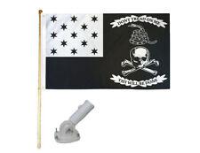 New listing 5' Wooden Flag Pole Kit W/ Nylon White Bracket 3x5 War Of 1812 Pirate Poly Flag