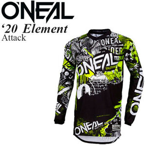 O'Neal 2020 Mens Adult Element Attack Jersey Black/Hi-Viz Off-Road/MX/ATV 0008-8