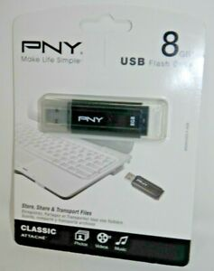PNY Classic Attache 8GB USB 2.0 Flash Drive - Thumb Portable Storage New SEALED