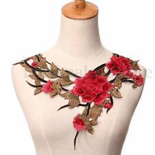 Fashion Red Leaves Flower Collar Neck Lace Venise Applique Sew On Dress Neckline
