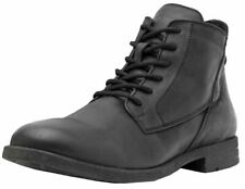 Replay Gunhill Black Mens Leather Mid Ankle Army Boots