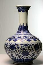 Antique Chinese Ming Style Seal Mark Qianlong Porcelain Bottle Vase Blue White