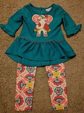Emily Rose 3T Girls Outfit Set Top Pants Teal Pink Red Yellow White Elephant GC