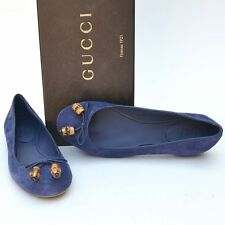 GUCCI New sz 39.5 - 9.5 Authentic Designer Bamboo Womens Ballet Flats Shoes Blue