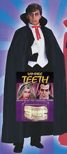 Dracula Vampire Black Cape Cloke WITH TEETH HalloweenFancy Dress Costume Outfit