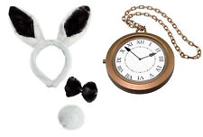 Ears Headband, Black Bow Tie, Tail & Inflatable Clock Medallion Bunny Rabbit Set