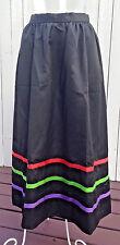 MOD Couture Sateen Taffeta Lined Full Length MAXI Skirt Ribbons Waist 26 ILGWU M