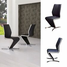 """""""ROSSELLA"""" Designer Black Z Faux Leather Dining Chair with White Strip"""