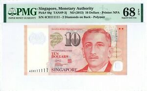 Singapore 10 Dollars P48g 2013 PMG 68 EPQ SOLID s/n 4 CH 111111 Polymer