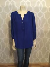 Roz & Ali Blue Tunic Top Size XL 1X 3/4 Sleeve Gold Buttons Polyester Blouse EUC
